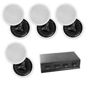 "4-Zone 8-Speaker Pack with 8"" In-Ceiling Speakers Glass Fibre"