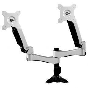 Adjustable LCD Arm with Dual Monitor Panels and Desk Grommet Base
