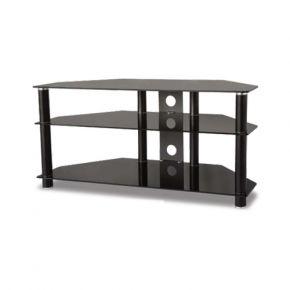 3-Shelf TV Stand 1100mm Wide Black Glass FS101B