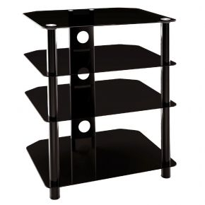 4 Shelf Rack HiFi Stand 550mm Wide Black SA501B