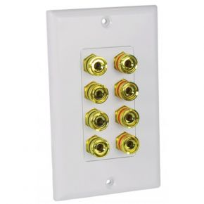 Avico Banana Plug Wall Plate for 4 Speakers SWP84