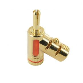 24k Gold Plated Locking Banana Plugs Red Takes Up To 9 AWG BP0846R