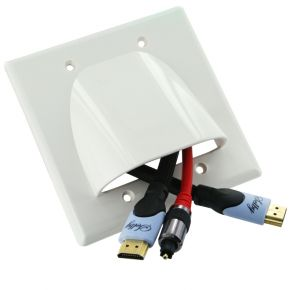 Double Gang Bull Nose Wall Plate Cable Management White BN252W