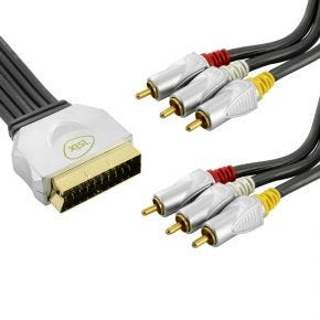 1.5m ISIX Pro HQ SCART to Composite AV Cable Lead Record & Play In Out IQC2415