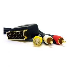 1.5m ISIX SCART to SVHS S-Video & 2RCA Stereo Audio AV Cable Gold Plated ITT3841