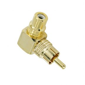 Male to Female RCA Adaptor Right Angle 90 Degrees PJ0524