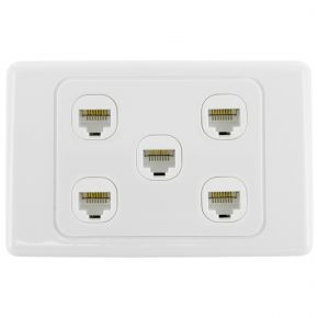 5-Port CAT6 Network Punch Down Wall Plate