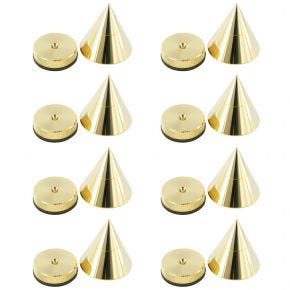 8 Pack of 25mm Speaker Equipment Isolation Cones Spikes Gold Plated with Height Adjustable Top Spike25.8pk