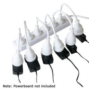 8 Pack Space Saver Short Extension Leads Cords for Powerboard Power Board PBSS8W