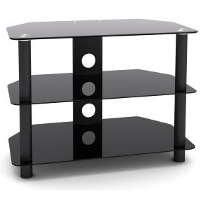 3 Shelf Rack HiFi Stand 650mm Wide Black SA1001S