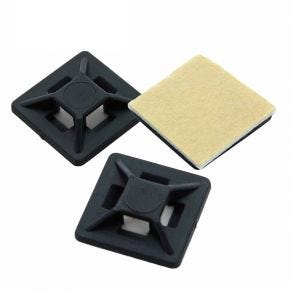 100 Pack Self Adhesive Cable Tie Mounts 3.6mm x 19mm SAMB19