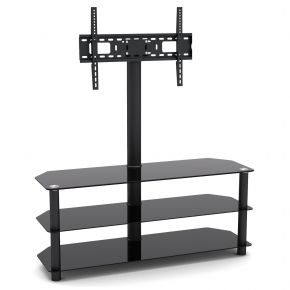 3 Shelf TV Stand with Bracket 1200mm Wide Black SA1003L