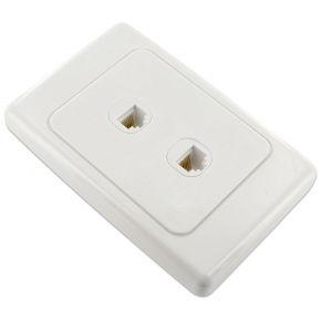 2-Port Network Cable Wall Plate CAT6 LAN RJ45 8P8C Plug to Plug WPCJ2