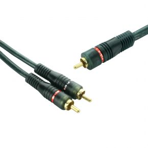 3m Subwoofer Cable 1RCA to 2RCA Y Splitter Shielded Audio Lead Cord XNT1503