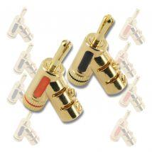 8 Pack Locking Banana Plugs Black Red Gold Plated BP0846.8pk