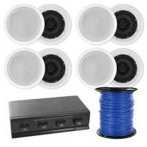 "8""  In Ceiling Multi room Home Theatre Speakers plus 4-way Speaker Switc"