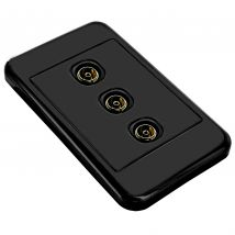 Black Wall Plate 3x F-Type Female to PAL Female antenna terminal / connector