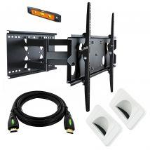 37-60in Slimline Bracket, Pivot Tilt + 5m HDMI Cable + 2x Bullnose Wall Plates