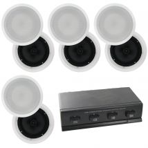 "8 x 8"" Carbon Cone In Ceiling Speakers plus 4-way Speaker Switch CS809x4A1006 RRP$485"