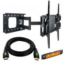 "37-60"" LED/Plasma/LCD TV Slim Wall Mount Pivot Bracket with 5m HDMI cable"