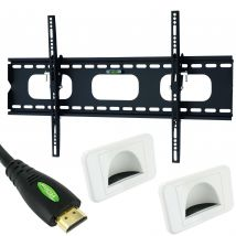 "4 piece 30-50"" inch TV Wall Mount bracket set 15m HDMI Cable Bullnose Wall plate"