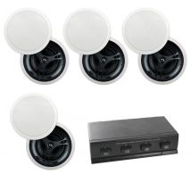 "4-Zone 8-Speaker Pack with 6.5"" In-Ceiling Glass Fibre Speakers"